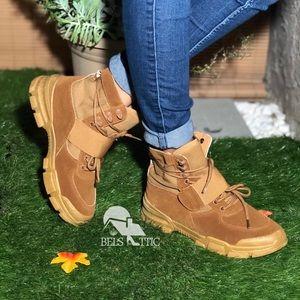 Vegan Suede Tan Retro Combat Sneaker Booties